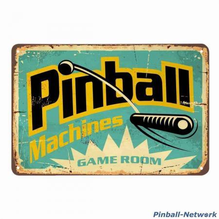 Blechschild Pinball Machines Game Room