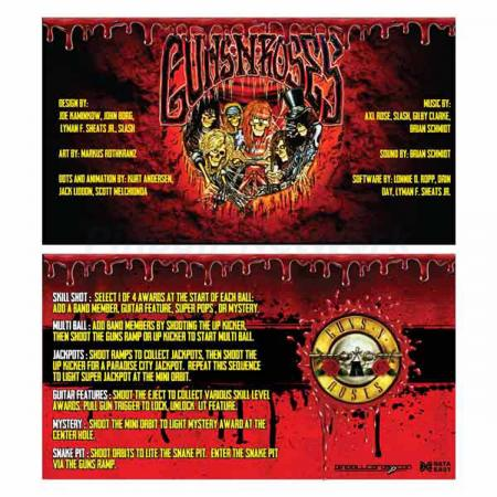Guns N´ Roses Data East Custom Cards, Design 2